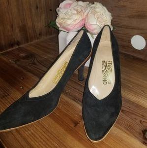 Salvatore Ferregamo black suede/wood heels